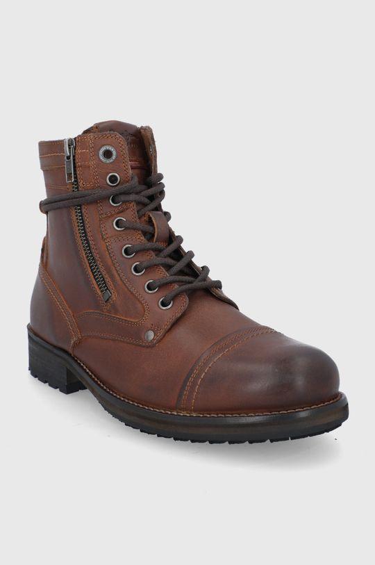 Pepe Jeans - Buty skórzane Melting High ciemny brązowy