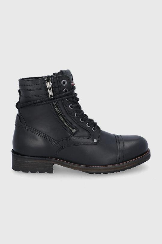 czarny Pepe Jeans - Buty skórzane Melting High Męski