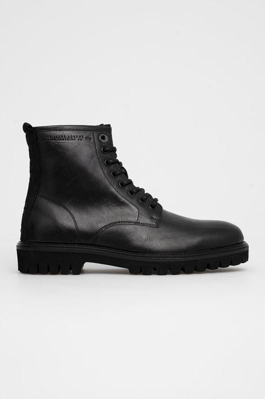 černá Pepe Jeans - Kožené boty Trucker Boot Pánský