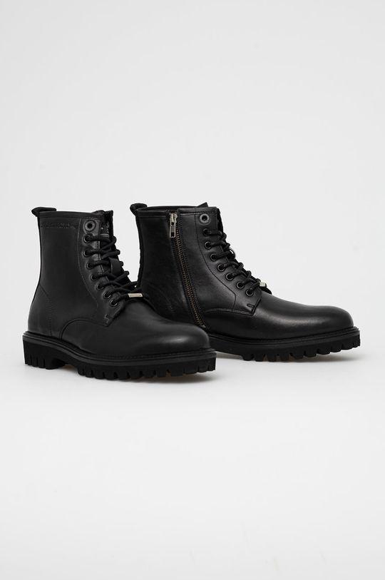 Pepe Jeans - Kožené boty Trucker Boot černá