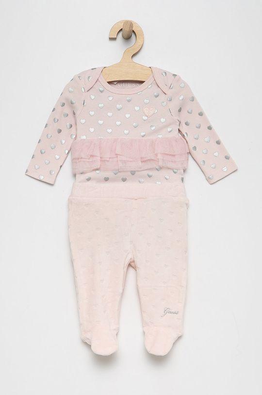 pastelowy różowy Guess - Komplet niemowlęcy Dziewczęcy