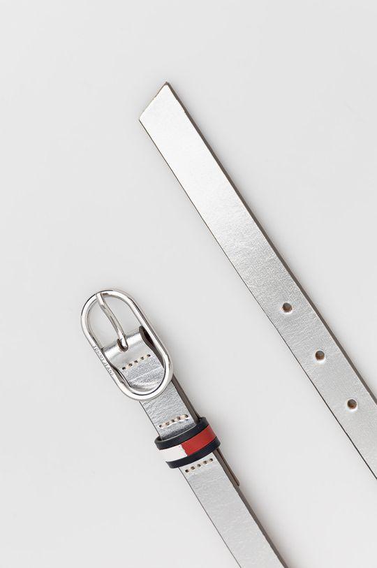 Tommy Jeans - Pasek skórzany srebrny