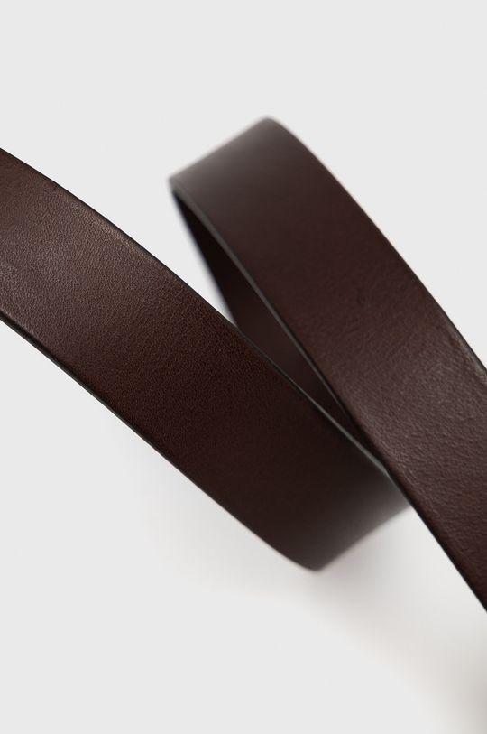 Boss - Pasek skórzany ciemny brązowy