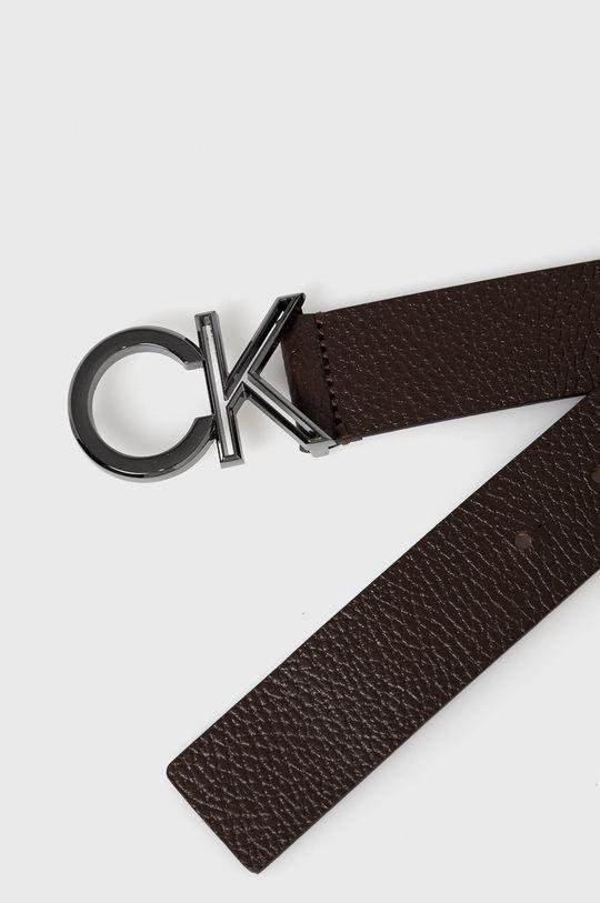 Calvin Klein - Pasek skórzany ciemny brązowy