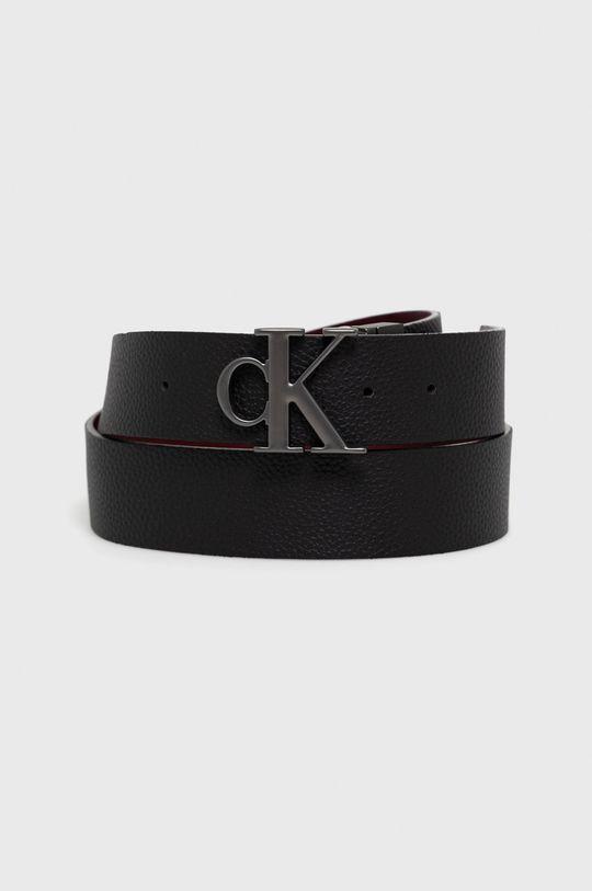czarny Calvin Klein Jeans - Pasek skórzany dwustronny Męski