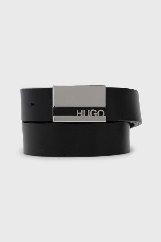 czarny Hugo - Pasek skórzany Męski