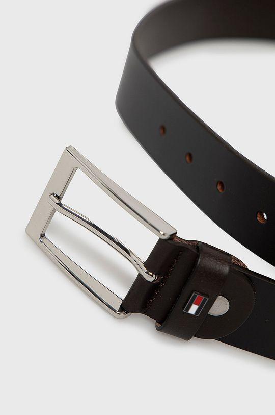 Tommy Hilfiger - Kožený pásek tmavě hnědá