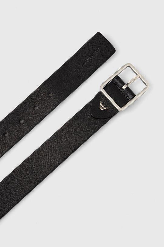 Emporio Armani - Pasek skórzany czarny
