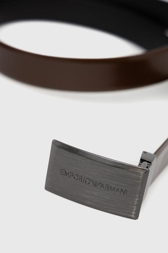 Emporio Armani - Pasek skórzany brązowy