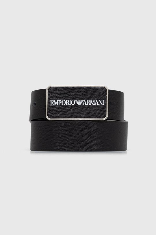 czarny Emporio Armani - Pasek skórzany Męski
