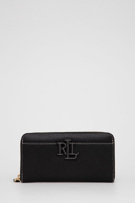 μαύρο Lauren Ralph Lauren - Δερμάτινο πορτοφόλι Γυναικεία