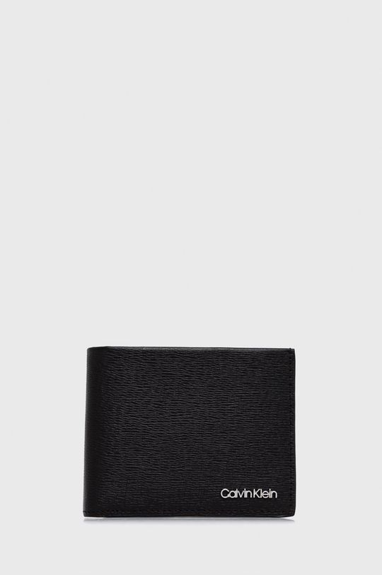 czarny Calvin Klein - Portfel skórzany + brelok Męski