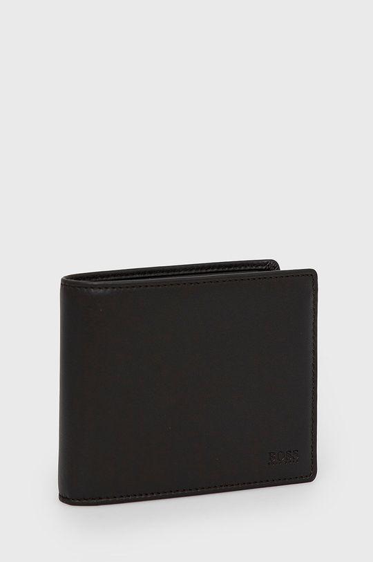 Boss - Portfel skórzany ciemny brązowy