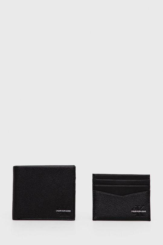 czarny Calvin Klein Jeans - Portfel i etui na karty skórzane Męski