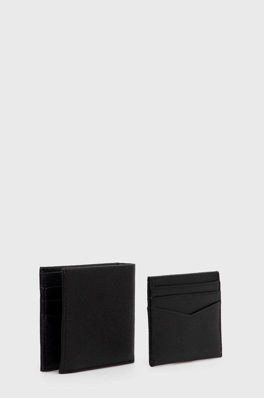 Calvin Klein Jeans - Portfel i etui na karty skórzane czarny