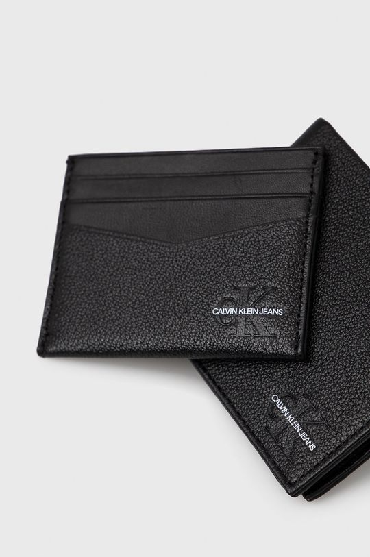 czarny Calvin Klein Jeans - Portfel i etui na karty skórzane