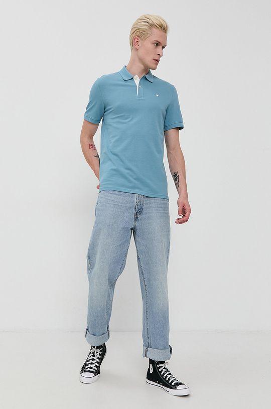 Tom Tailor - Bavlnené polo tričko modrá