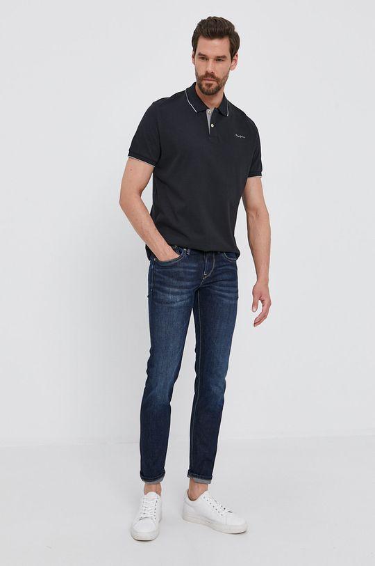 černá Pepe Jeans - Polo tričko LUCAS
