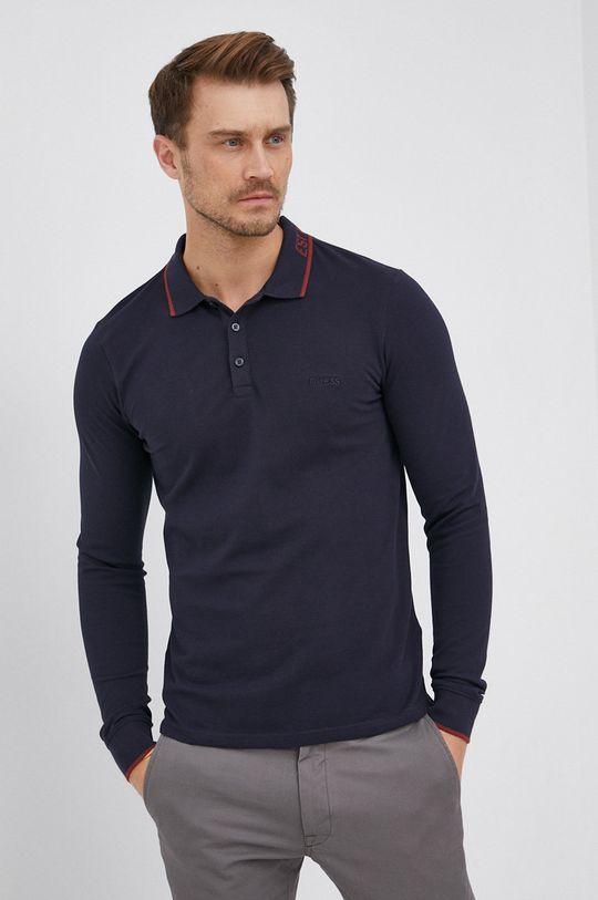 námořnická modř Guess - Tričko s dlouhým rukávem Pánský