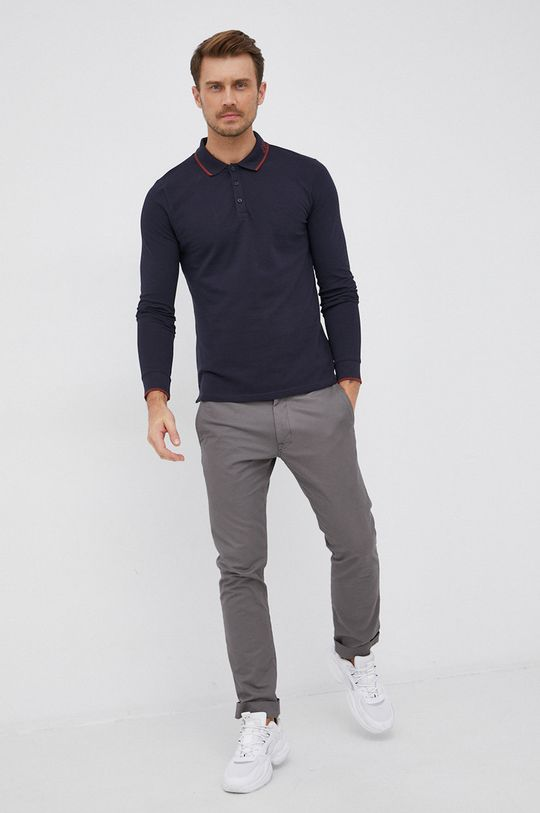 Guess - Tričko s dlouhým rukávem námořnická modř