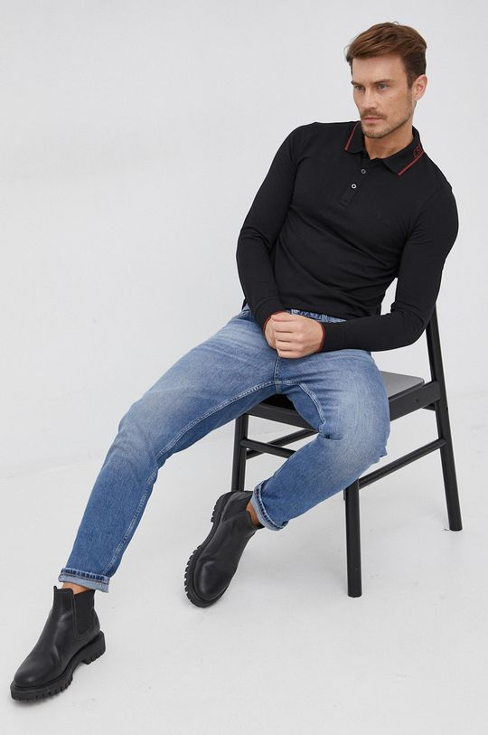 černá Guess - Tričko s dlouhým rukávem Pánský