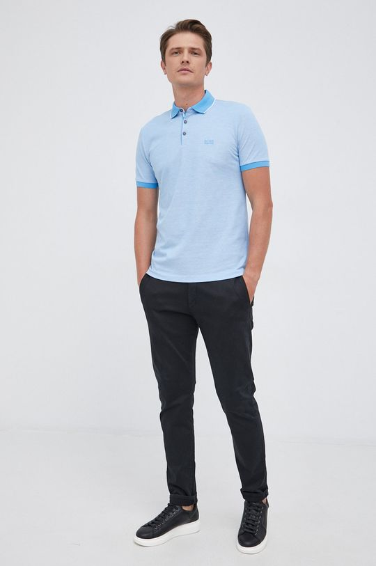 Boss - Polo bawełniane jasny niebieski