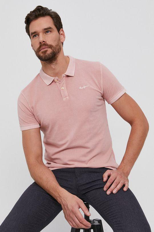 roz pastelat Pepe Jeans - Polo de bumbac Vincent De bărbați