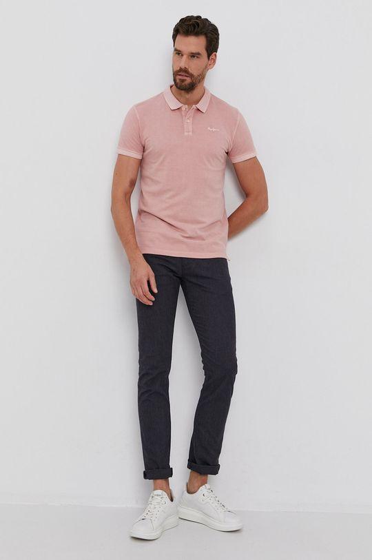 Pepe Jeans - Polo de bumbac Vincent roz pastelat