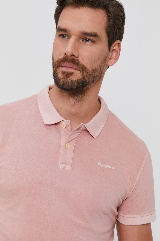 roz pastelat Pepe Jeans - Polo de bumbac Vincent