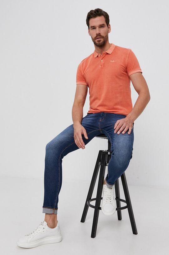 portocaliu Pepe Jeans - Polo de bumbac Vincent De bărbați
