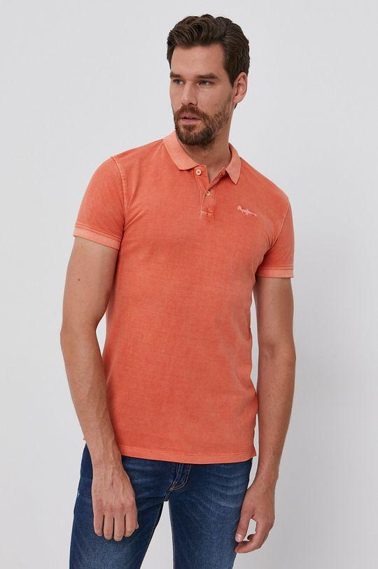 Pepe Jeans - Polo de bumbac Vincent portocaliu