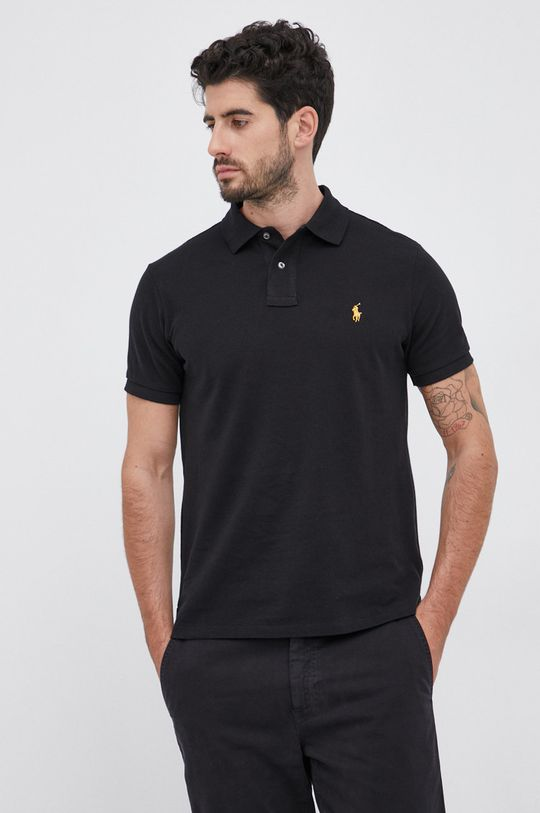 czarny Polo Ralph Lauren - Polo bawełniane Męski