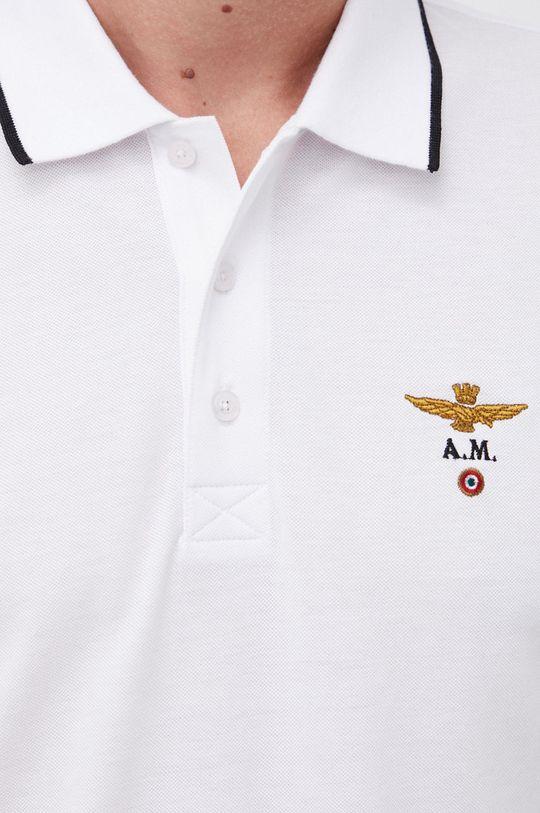 biały Aeronautica Militare - Polo bawełniane