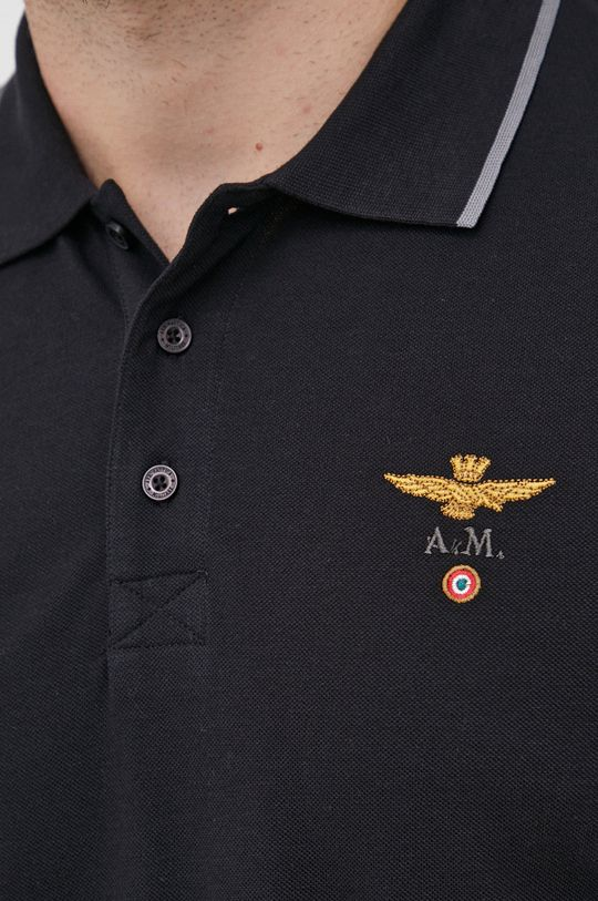 czarny Aeronautica Militare - Polo bawełniane
