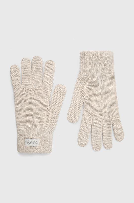 kremowy Calvin Klein - Rękawiczki z domieszką wełny Damski