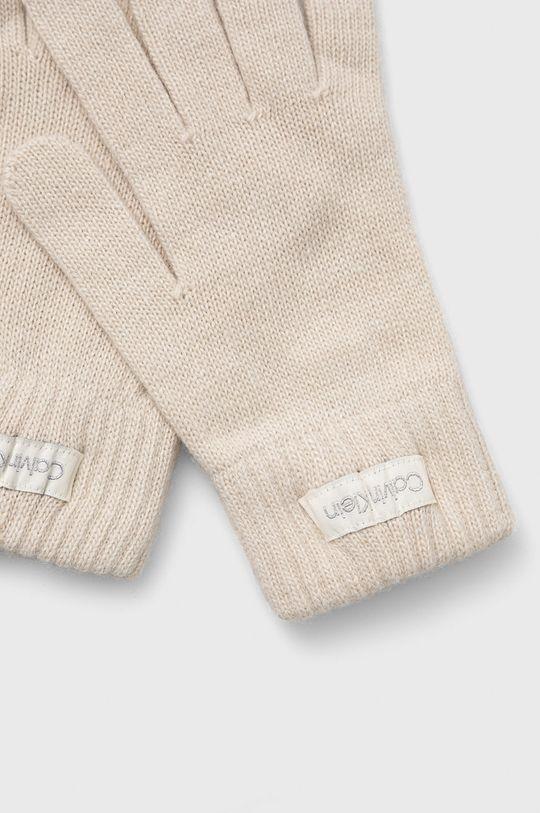 Calvin Klein - Rękawiczki z domieszką wełny kremowy