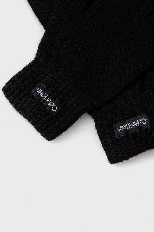 Calvin Klein - Rukavice z vlněné směsi černá