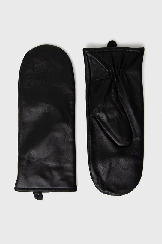czarny Samsoe Samsoe - Rękawiczki skórzane Damski
