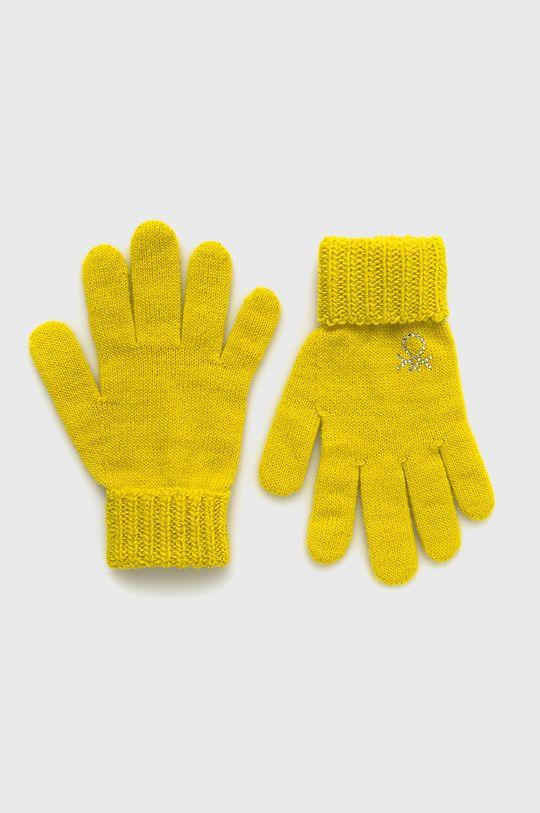 żółty United Colors of Benetton - Rękawiczki dziecięce Dziewczęcy
