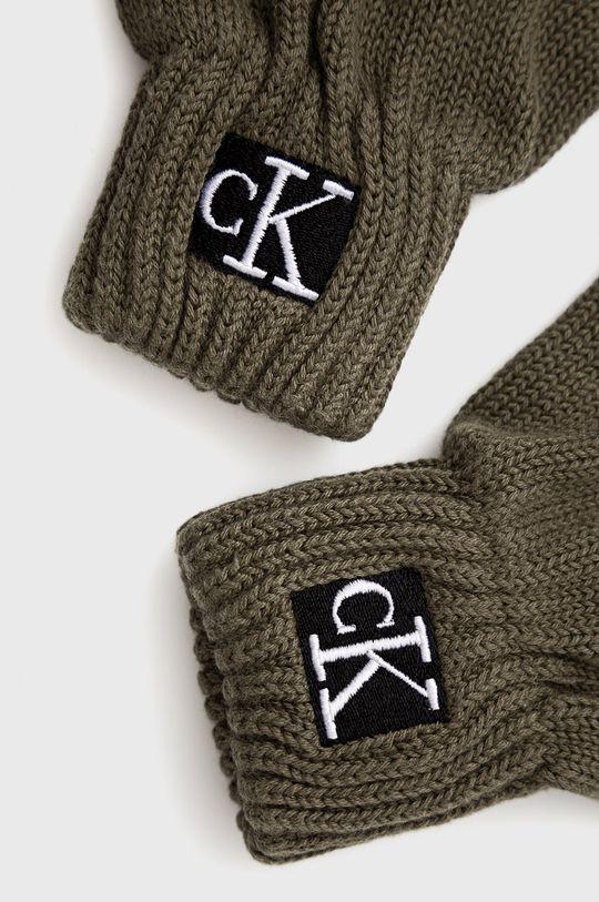 Calvin Klein Jeans - Rękawiczki dziecięce brudny zielony