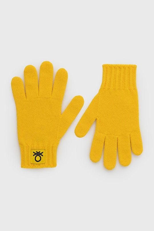 żółty United Colors of Benetton - Rękawiczki dziecięce Dziecięcy