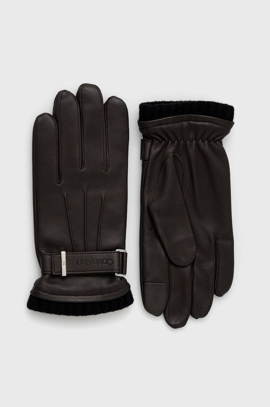 ciemny brązowy Calvin Klein - Rękawiczki skórzane Męski
