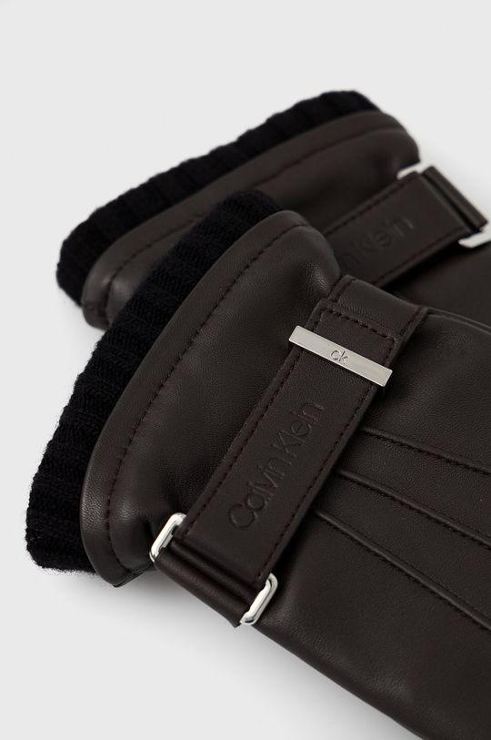 Calvin Klein - Rękawiczki skórzane ciemny brązowy