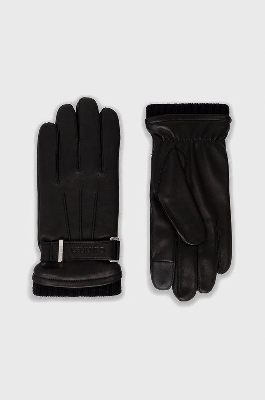 czarny Calvin Klein - Rękawiczki skórzane Męski