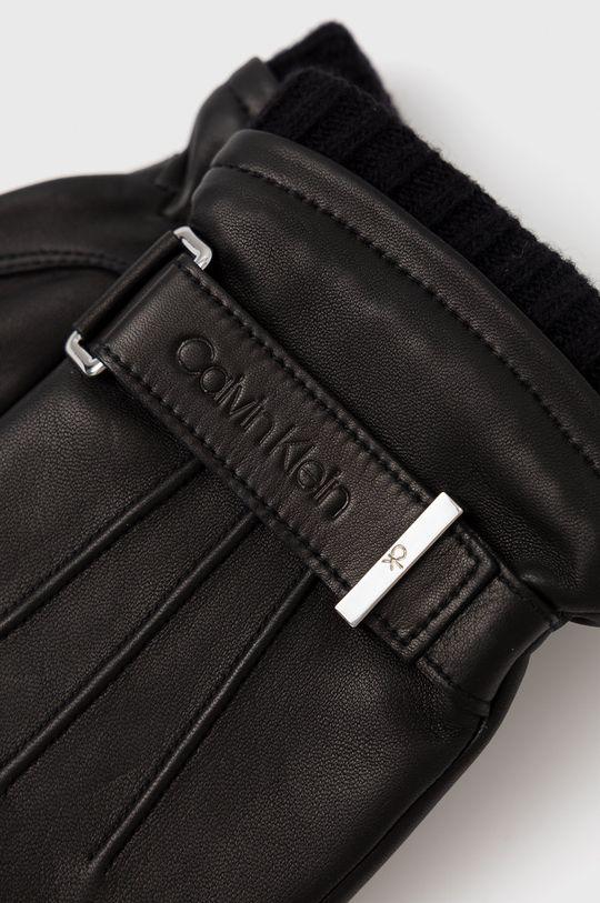 Calvin Klein - Rękawiczki skórzane czarny