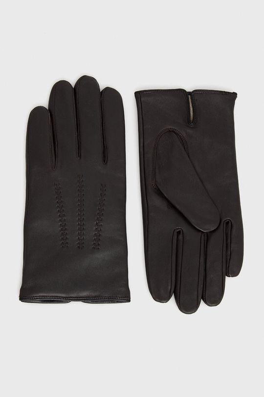 brązowy Boss - Rękawiczki skórzane Męski