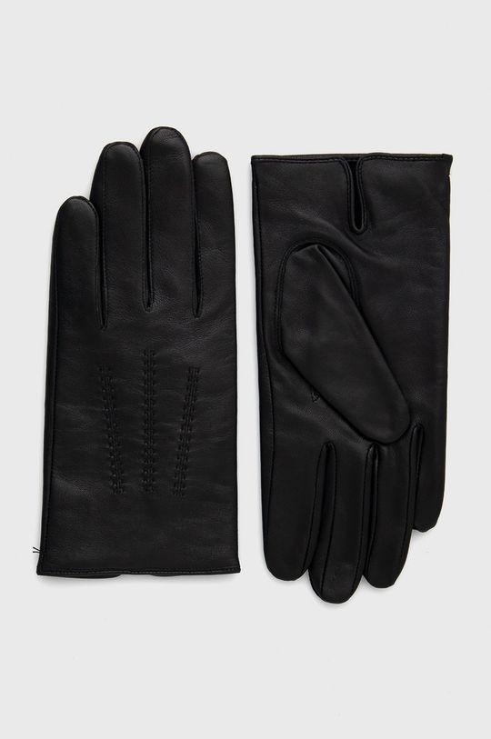 czarny Boss - Rękawiczki skórzane Męski
