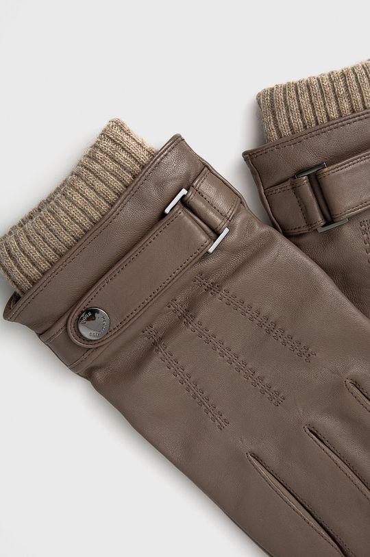 Boss - Rękawiczki skórzane brązowy