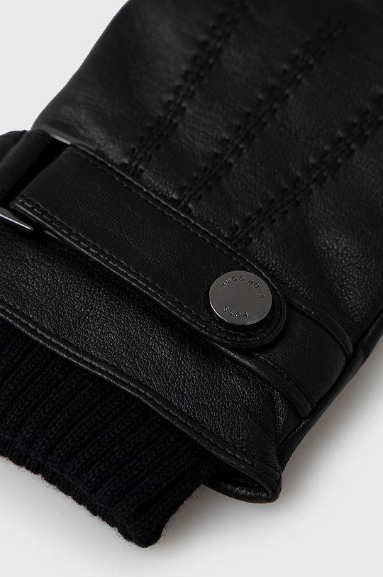 Boss - Rękawiczki skórzane czarny