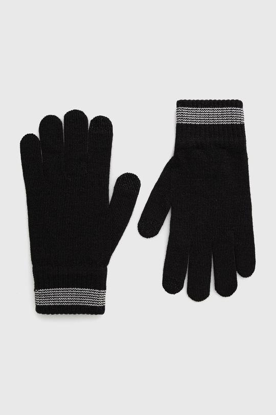 černá EA7 Emporio Armani - Rukavice z vlněné směsi Pánský
